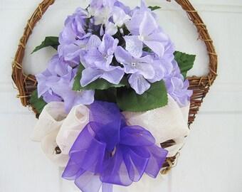Front Door Hydrangea Basket Wreath, Spring Hydrangea Wall Basket, Summer Hydrangea Basket, Year Round Wall Basket Wreath,