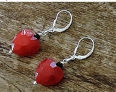ON SALE Red and Black Faceted Glass Heart Earrings