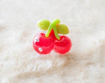 Hot Pink Cherries Brooch