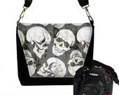 Digital SLR Camera Bag Steampunk Skulls Dslr Camera Bag Purse Goth Unisex Camera Bag Case Deluxe black gray white MTO
