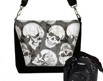 Digital SLR Camera Bag Steampunk Skulls Dslr Camera Bag Purse Goth Unisex Camera Bag Case Deluxe black gray white RTS