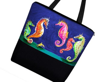 Clara Nilles Seahorse Large Tote Bag / Canvas Tote Bag w Zipper & Pockets /  Boy Diaper Bag Girl / Beach Tote / blue pink green  MTO