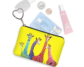 Clara Nilles Yellow Giraffe Small Zipper Pouch Coin Purse Keychain Key Fob Business Card Holder Purse Organizer purple red blue green RTS