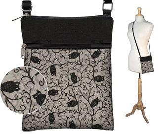 CLEARANCE Cute Owl Small Cross Body Purse  Black Crossbody Bag Sling Shoulder Bag Fits eReaders Black Gray RTS