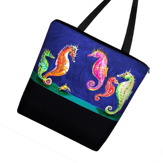 Clara Nilles Seahorse Large Tote Bag / Canvas Tote Bag w Zipper & Pockets /  Boy Diaper Bag Girl / Beach Tote / blue pink green  MTO