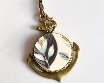 Simple Circle Bronze Anchor Broken China Jewelry  - Black Yellow and White