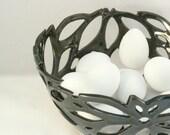 Artistic Ceramic Fruit bowl, Black Cut Out Art Vessel, Incised Design, Black Vase, Collectible Limited Edition Home Decor, Office Decoration