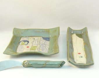 Ceramic dishes, butter dish, kitchen serving, square dish, bread plate, small ceramic dish, Thanksgiving dinnerware, food prep, hostess gift