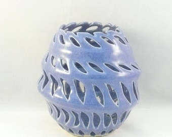 Studio Art Vessel in Purple - Cut out vase for home decor, office decoration, art object, periwinkle purple ceramic vase