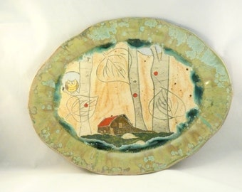 Oval Plate with Barn - Large Ceramic Serving Platter in barn and woodland forest design, art vessel collectible sculpture - Colorado pottery