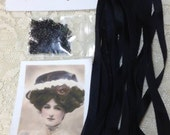 Black Silk Ribbon set for Crazy Quilting
