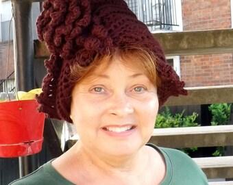 Aubergine Cloche Hat, Crochet Hat Aubergine Womens Hat 1920s, Womens Crochet Hat, Aubergine Hat, Lauren 1920s Cloche Hat, Crochet Flower