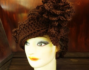 Brown Cloche Hat,  Womens Crochet Hat,  Womens Hat,  Chocolate Brown Hat,  Lauren 1920s Cloche Hat Crochet Flower