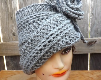 Mad Hatter Steampunk Hat Women, Tea Party Hats for Women, Cloche Hats Crochet Hat Womens hat, Ombretta Gray Hat