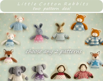 Knitted Toy knitting patterns. Two pattern deal - choose any 2 animal patterns  (rabbit, bear, mouse, elephant, fox, cat or monkey)