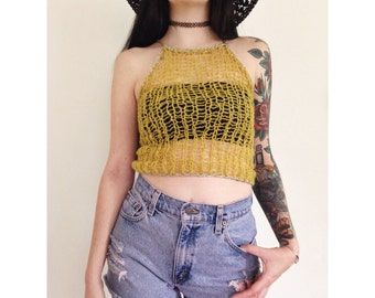 Yellow Mohair Knit Crop Top with Silver Sparkle - XS Small Knitted Cropped Halter Top - Loose Knit Sheer Lace Sleeveless Halter Tank Top