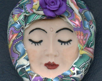 Polymer Clay OOAK   Detailed   Art Doll Face with hat Cab PRFH 1