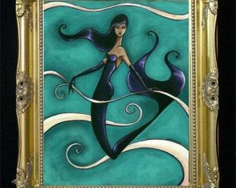 Mermaid Art Print, Burlesque Illustration, Nautical Home Decor, Beach House, Fantasy Artwork, Sexy Giclee Print, Elegant Glamorous, Shano