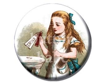 Bottle opener and keychain - Alice in Wonderland - Drink Me - vintage art