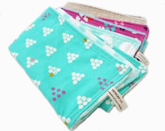 Baby Burp Cloths Aqua Blue and Pink Mochi Soft Cotton Terry Cloth Baby Girl Gift Newborn Feeding