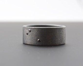 Scattered Black Diamond Ring - Flush Set Diamonds - Three Stone Ring - Oxidized Rough Finish Ring - 8 mm wide - Artisan Jewelry
