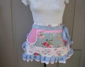 Aprons - Half Aprons - Blue and Pink Rose Apron - Pink Cabbage Rose Apron - Handmade Aprons - Pink Roses Aprons - Annies Attic Aprons