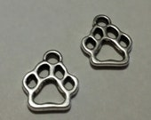 Paw Print Charms - 50 pcs. - Silver Paw Prints - Silver Dog Charms - Cat Charms - Animal Charms -  Dog Paw Charm - Paw Charm - Cat Paw Charm