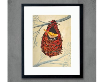 Oriole Print Woodland Decor with Bird Nest