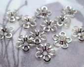 30 pcs. silver tone flower beads bead caps 9mm - f4726