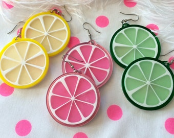 Fruit Slice Acrylic Laser Cut Earrings
