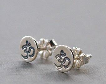 Stud Earrings , Om Earrings , Yoga Jewelry , Small Sterling Silver Earrings
