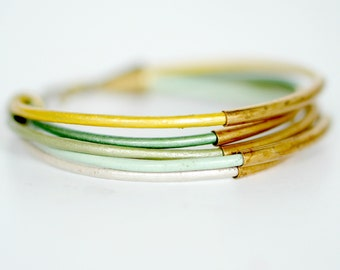 Green Leather Cord and Multi Tube Bangle Wrap Bracelet