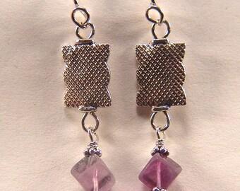 Fluorite dangle Earrings Argentium Silver