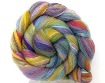 Merino and Silk Blend Lilac n Lime combed wool top for handspinning or felting 50g 100g