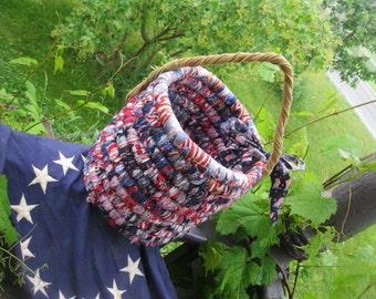 AMERICAN textile art Basket  PATRIOTIC BUCKET  number One