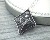 Scottish Thistle Necklace Flower Necklace Sterling Silver Necklace Gift for Her Floral Jewelry Silver Charm Necklace Unique Jewelry