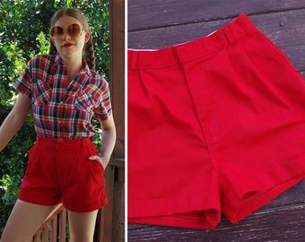 Primary RED 1970's 80's Vintage Bright Red High Waist Cotton Shorts // size Small Med // 28 Waist // by Combinations
