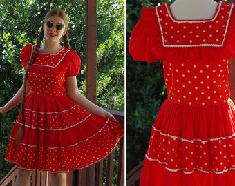 Red and white square dance dress