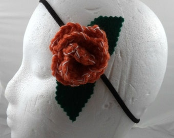 Donna Noble - Crocheted Rose Headband - Orange and White (SWG-HH-DWDN01)