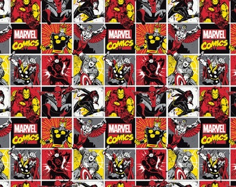 Marvel RED Square Patch Comic Black Widow DareDevil Iron Man Thor Cotton Fabric 1 Yard BTY