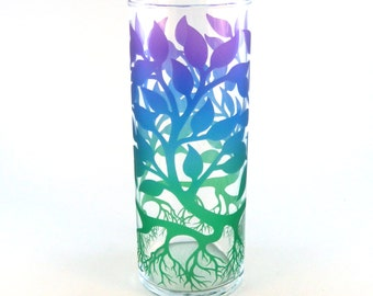 Tree of Life - Glass Vase - Inlaid Style - Etched and Painted Glassware - Custom Made to Order
