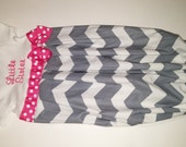 newborn infant custom layette baby girl gown ruffle bottom chevron sack shower gift coming hospital first pictures take home outfit diva