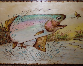 Fish Woodburned on Maine Pine  - Dawn's Delight and Led by the Light
