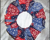 Bandana Patchwork Hair Scrunchie, Country Bandanna Ponytail Holder, American Traditional Hair Tie, Biker Chick
