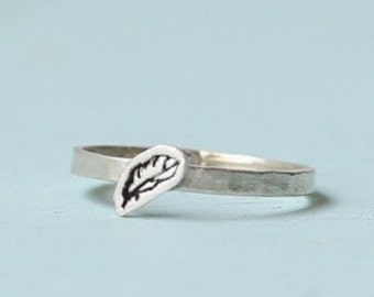 FEATHER Stacking Ring, eco-friendly silver. Handcrafted by Chocolate and Steel