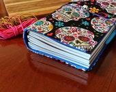 Fabric Fauxdori  pocket size Travelers Notebook Cover Sugar skulls on black fits Midori inserts