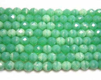 Czech Fire Polished Beads 7mm Vintage Opal Green Fire Polished Round Beads 20pcs (5032) Czech Glass Beads