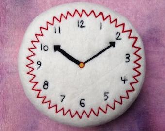 SALE: Soft Sculpture Felted Clock