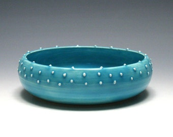 Iceberg Blue Pottery Bowl with Dots