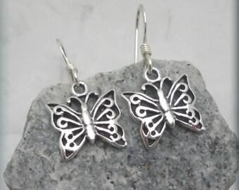 Butterfly Earrings Sterling Silver Dangle Earrings Charm Nature Jewelry (SE627)